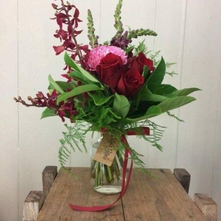 Red Rose Blossom vase