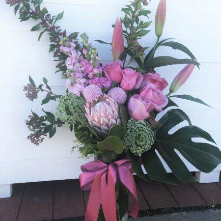seasonal pastel vase arrangement