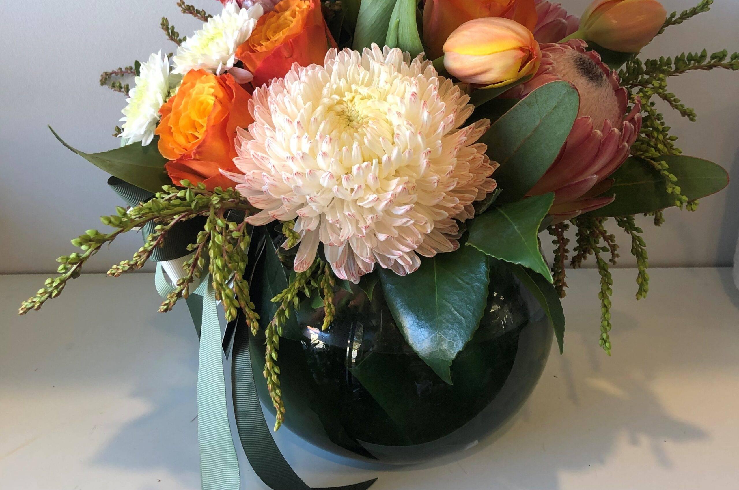 fishbowl vase arrangement