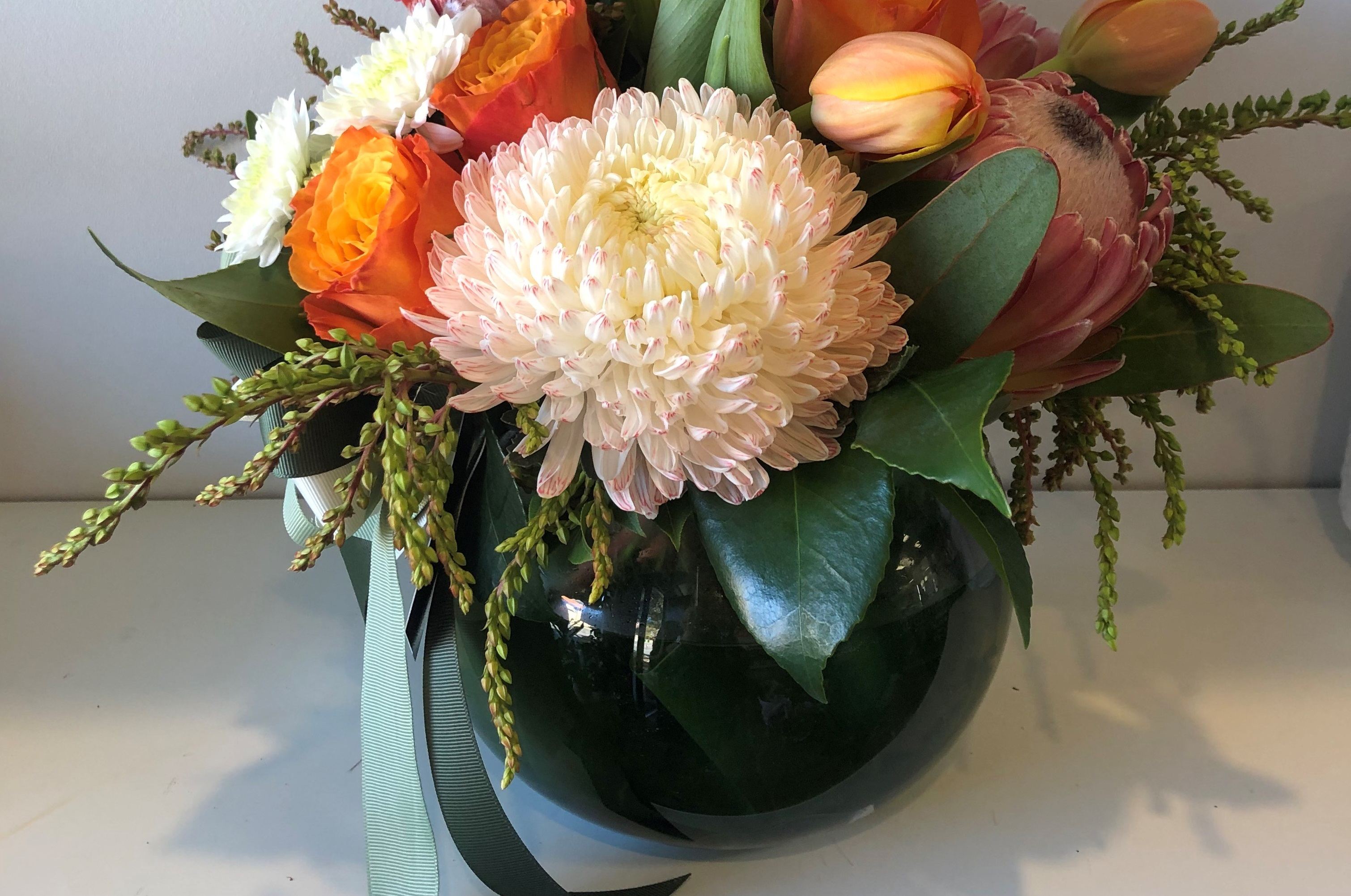 fishbowl vase arrangement
