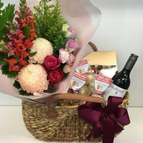 Flowers plus food gift hamper