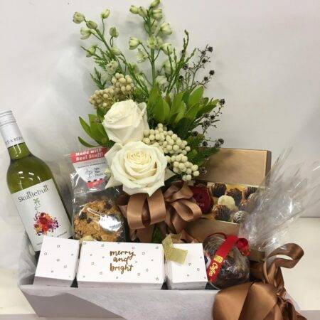 christmas gift box flowers and wine
